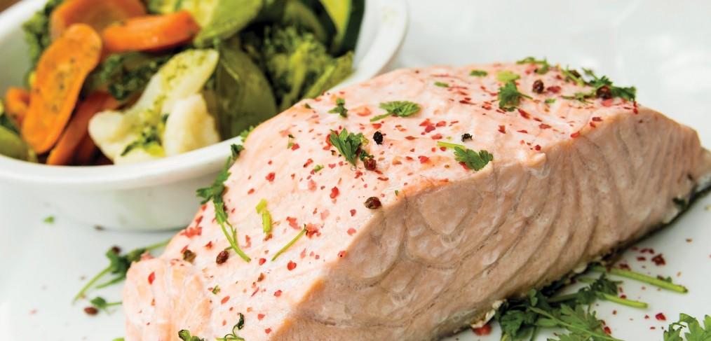 Creamy Wine Poached Salmon