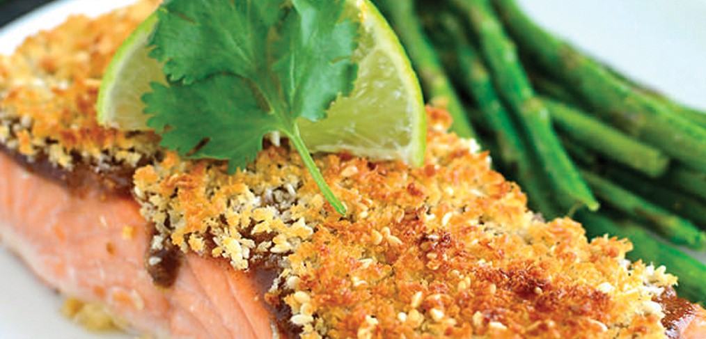 Salmon with Sweet Chili Sauce and Panko Topping